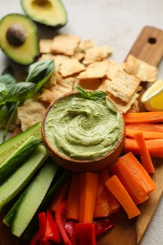 Creamy avocado basil dip with tahini