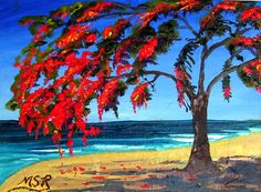 Art-by-MSR: Royal Poinciana and Beach Cuban art inspiration Barbados, Cuba People, Cuba Art, Cuban Culture, Caribbean Art, True Art, Black Art, Land Scape, Puerto Rico