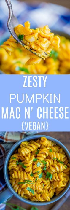 This Zesty Pumpkin Mac N' Cheese is a delicious and easy vegan dinner! It's so comforting and perfect for fall! Your whole family will love this healthy dinner! (cheesy mac and cheese creamy) Vegetarian Pasta Recipes, Vegan Vegetarian, Healthy Recipes, Protein Recipes, Vegan Pasta, Healthy Food, Clean Eating Recipes, Cooking Recipes, Cheese Recipes