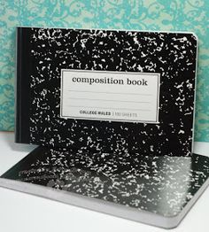 use 1/2 of composition notebook for a recipe book