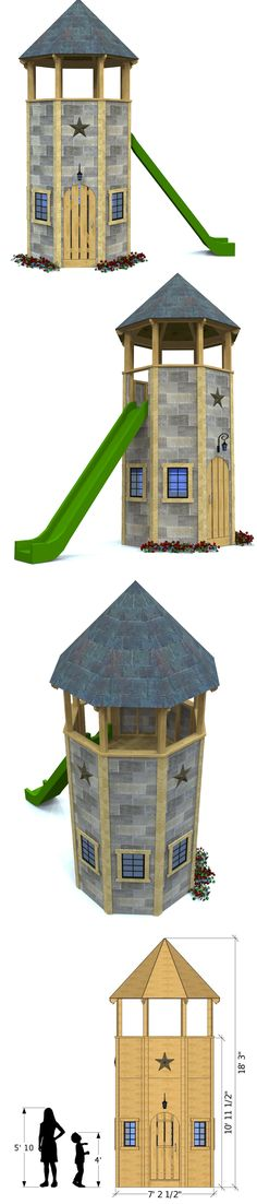 Two level, octagonal tower playset for kids.  Download and start building today!