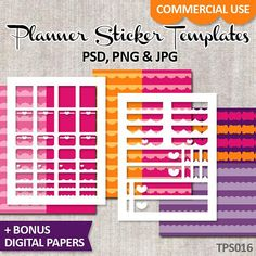 Template Planner Sticker Commercial Use  Blank Erin Condren Life