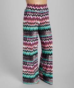 Another great find on #zulily! Pink & Mint Chevron Palazzo Pants - Plus #zulilyfinds