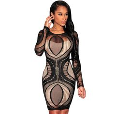 Cheap long sleeve bodycon dress, Buy Quality bodycon dress directly from China dress dress dress Suppliers: Newly Sexy Women In 5 Colors White/Black/Red/Apricot/Royal Blue Lace Nude Illusion Long Sleeves Bodycon Dress Vestidos Sexy Lace Dress, Bodycon Dress With Sleeves, Black Bodycon Dress, Dress Black, Dress Long, Sheath Dress, Sleeved Dress, Chic Dress, Dress Casual
