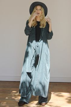 Soft tailored, Green Glitter Maxi Duster and Palazzo Pants by Never Fully Dressed