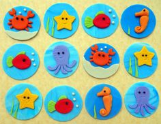12 REEF CREATURES Fondant Cupcake Toppers by SWEETandEDIBLE, $21.00