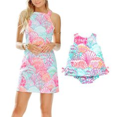 9 Best Mommy and Me Outfits 2016-Matching Outfits For Mother and Daughter-Lily Pulitzer-Simone shift dress, $188, lilypulitzer.com; Baby Lily shift dress, $48, lilypulitzer.com. The bright, colorful dresses from this resortwear mainstay are made for summer soirees. Step out in style with your little one sporting these festive shift dresses.  Discover more ways to play dress with your daughter at redbookmag.com.