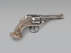 Smith and Wesson .38 Caliber Safety Third Model Double-Action Revolver, serial no. 83097, with Case Smith & Wesson (American, established 1852) Decorator: Tiffany & Co. (1837–present) Date: ca. 1890–93