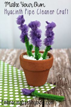Hyacinth Pipe Cleaner Craft Step by Step with pictures | kids arts and crafts | mini flower pot craft | spring arts and crafts | summer arts and crafts