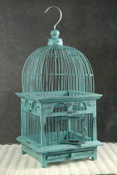 """Great site if your looking for birdcages....,maybe for a wedding or shower.....Tiffany Blue Handcrafted Teak Bird Cages (16-1/2"""")"""