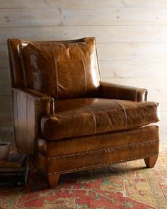 chair in worn, soft leather... Love a good fluffy leather chair