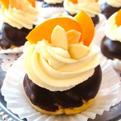 Almond Profiteroles - cream puffs filled with apricot almond praline ...