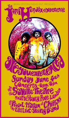 Jimi Hendrix Experience - concert poster - Saville Theatre - 1967.