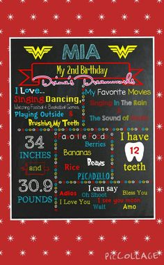 Wonder Woman Themed Birthday Chalkboard  **Digital Copy Only** $12 for digital file www.facebook.com/drinasdreamworks