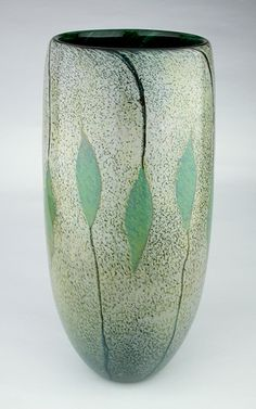 Nandina art glass vase by Daniel Scogna. Blown glass vase with transparent emerald green interior and dusty opaque surface with hand drawn jade green Nandina leaves.