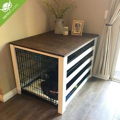 DIY Dog Crate Cover Carefully Clever is part of Dog crate cover - Dog Crate Table, Dog Crate Furniture, Diy Dog Crate, Wooden Dog Crate, Decorative Dog Crates, Furniture Ideas, Furniture Design, Dog Crate Cover, Dog Kennel Cover