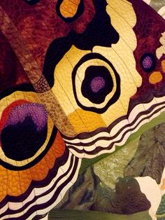 quilting detail on the wing of a butterfly quilt