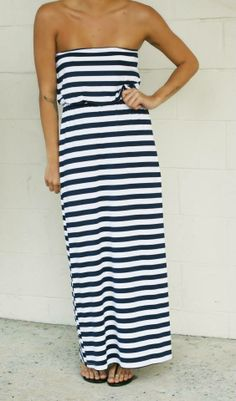 Enjoy an afternoon with friends in comfort and style with the stripe maxi by Susanna Monaco. $209.