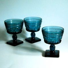 Retro set of three champagne or sherbet glasses.(from the Park Lane pattern) Made by Colony Glass from the early 1950s to 1962.