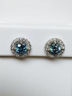 0b43794e7 2.16 Carat Blue 18k WG Diamond Earrings Gorgeous VVS Quality Accent  Diamonds, Gorgeous Rare , Must S