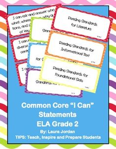 $4.00 Common Core I Can Statements ELA Grade 2 Primary Colors