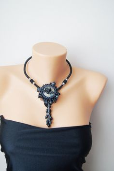 Black Statement Necklace Black Gray  Ombre Necklace by ilkcanArt