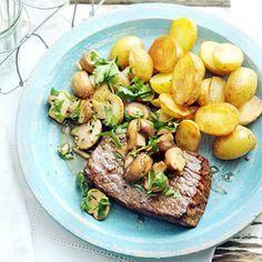 Recept - Biefstuk met champignons, knoflook en peterselie - Allerhande