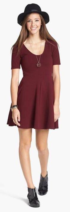 Oxblood Skater Dress