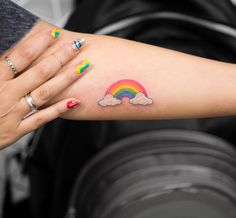 Cute rainbow tattoo for girls