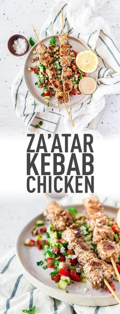 chicken kabob marinade Chicken kebabs with za'atar recipe. Take your backyard shindigs to a whole new level with this tasty recipe. Gourmet Recipes, Dinner Recipes, Healthy Recipes, Dinner Ideas, Healthy Meals, Delicious Recipes, Appetizer Recipes, Healthy Eating, Turkey Recipes