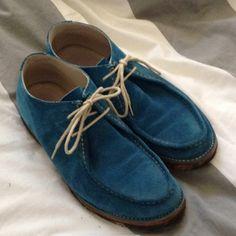Today's shoe.  Blue suede Jil Sander.