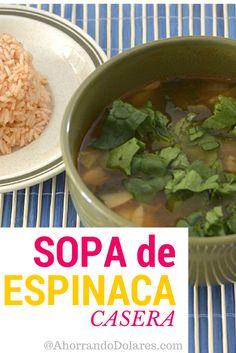 Sopa de espinaca hecha en casa. Receta facil para preparar.