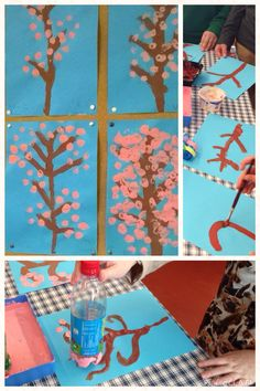 Cherry blossoms drawing using plastic bottles! Ideas from Pinterest. Thank you so much! http://blog.sina.cn/dpool/blog/s/blog_9343114401018ab1.html