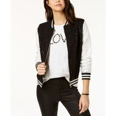 Say What? Juniors' Contrast Lace Varsity Jacket ($49) ❤ liked on Polyvore featuring outerwear, jackets, teddy jacket, white jacket, varsity-style bomber jacket, varsity jacket and lace jackets