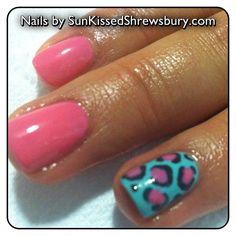 Pink & Teal Shellac w/ Leopard Design!