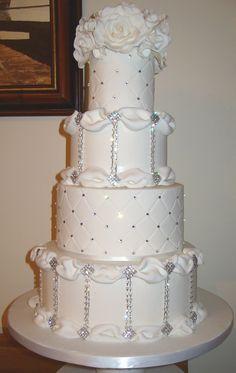 Four tier wedding cake with diamante and Swarovski crystals.  Sparkly wedding cake, bling wedding cake
