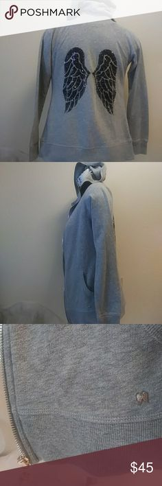 VICTORIA'S SECRET ANGEL WINGS GRAY BLING HOODIE LIKE NEW..VICTORIA'S SECRET ANGEL WINGS HOODIE WITH ZIPPER/DRAWSTRINGS CLOSURE, TWO FRONT POCKETS, & A LARGE SEQUINS BLING ANGEL WINGS ON THE BACK ..SIZE...XS VICTORIA'S SECRET Jackets & Coats
