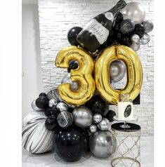 30th Birthday Balloons, Twin Birthday Parties, Birthday Balloon Decorations, Park Birthday, 30th Birthday Outfit, Birthday Kids, Balloon Columns, Balloon Garland, Balloon Bouquet Delivery