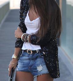 sequin jacket, white tee, denim skirt, edgy chic glam LA style