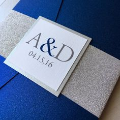 Silver Glitter and Cobalt Blue Wedding by InspirationIDoDesign