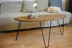 Coffee table, steel hairpin legs, handcrafted