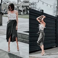 Get this look: http://lb.nu/look/8740155  More looks by Amber: http://lb.nu/loveambervictoria  Items in this look:  Zara Floral Tank Top, Rebecca Minkoff Midi Tie Skirt, Kate And Mel Nude Strappy Sandals