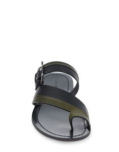 SERGIO ROSSI two-tone diagonal cross strap sandal with buckle