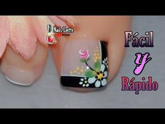 Decoración de uñas PIE fácil y sencillo/cómo hacer diseños en los pies/uñas de los pies decoradas - YouTube Pedicure Nails, Manicure, Flower Nail Designs, Magic Nails, Feet Nails, Flower Nails, Finger, Lily, How To Make