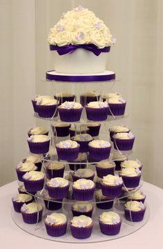 Cadburys purple cupcake tower with giant cupcake
