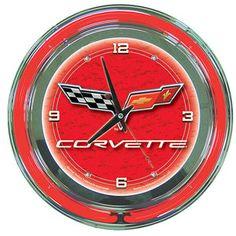 Corvette C6 Neon Clock - 14 Inch Diameter - Red - DirectAuctions.Net -Online Bid or Buy Discount Shopping Website,and Free Classifieds