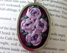 Items similar to Spring floral hand embroidered pendant necklace, bridesmaid gift. on Etsy