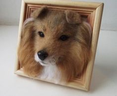 3D pets portraits created with wool felt