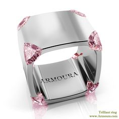 Trilliant ring in platinum and pink diamonds from www.Armoura.com