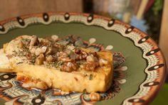 Sirene with honey and walnuts. Bulgarian cuisine